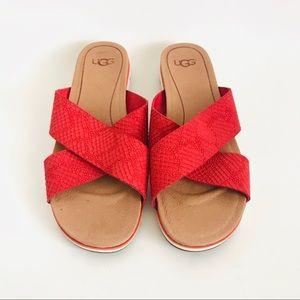 UGG Red Criss Cross Strap Slide Flat Sandals